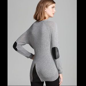 autumn cashmere Gray / Leather Elbow Patch Sweater